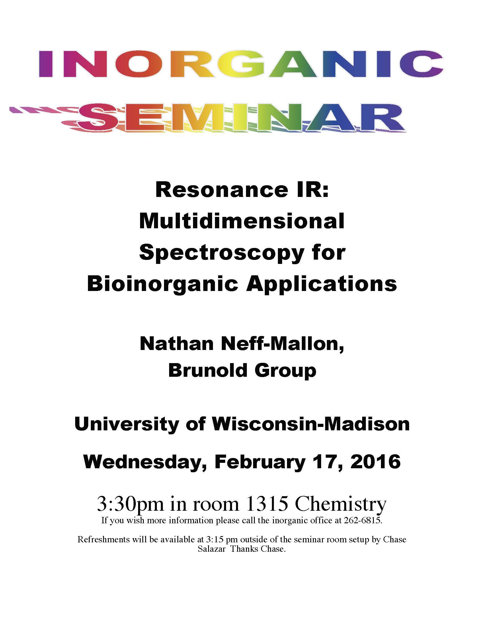 Inorganic Student Seminar Resonance IR: Multidimensional