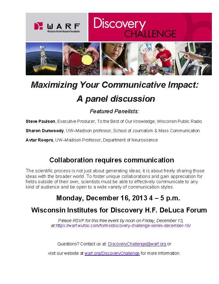 Maximizing Your Communcation Impact: A panel discussion | UW