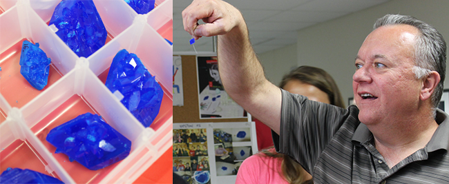 Left: crystal submission; Right: Teacher Tim Cox examines a crystal