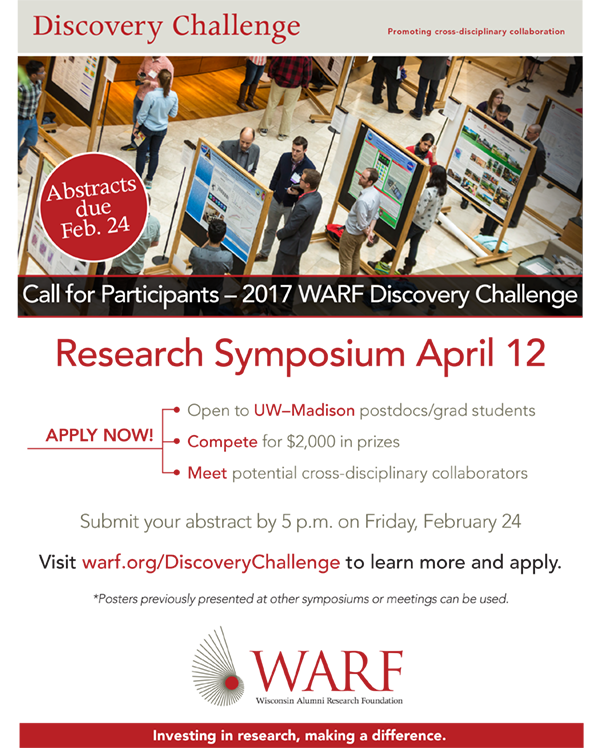 WARF Research Symposium Abstract Deadline | UW-Madison