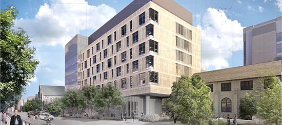 External building addition rendering, shown along University Ave.