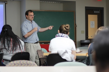 Professor John Berry shares his research with prospective chemistry graduate students