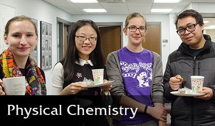 Physical chemistry student socialize at a path event