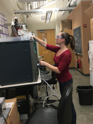 Graduate student Leslie Rank works at the GPC in a lab