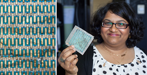 Professor Trisha Andrew displays a solar cell printed on regular paper
