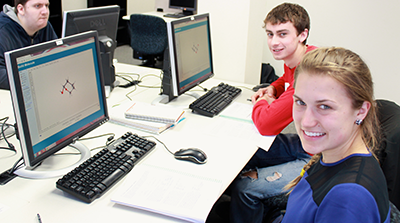 Undergraduate organic chemistry students work with WebMO, a computational chemistry program