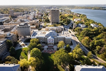 Aerial photo of UW-Madison, showing Bascom Hall