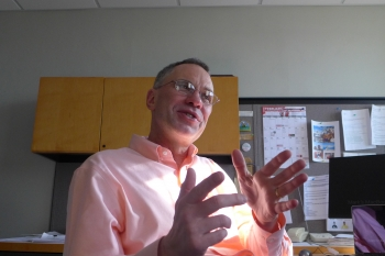 Professor Mark Ediger sits in his office in the Chemistry Building at UW-Madison