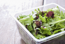A plastic salad container is one of many types of products made using propene